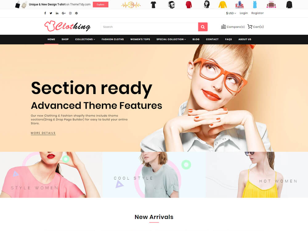 88c1b9550 Clothing is minimal design and multipurpose shopify theme. They have  arranged several business friendly features that help boost your brand.