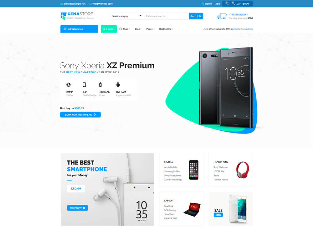 Single page woocommerce theme Cena